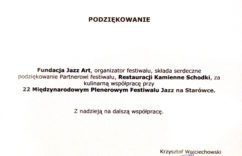 podziękowanie od Fundacji Jazz Art